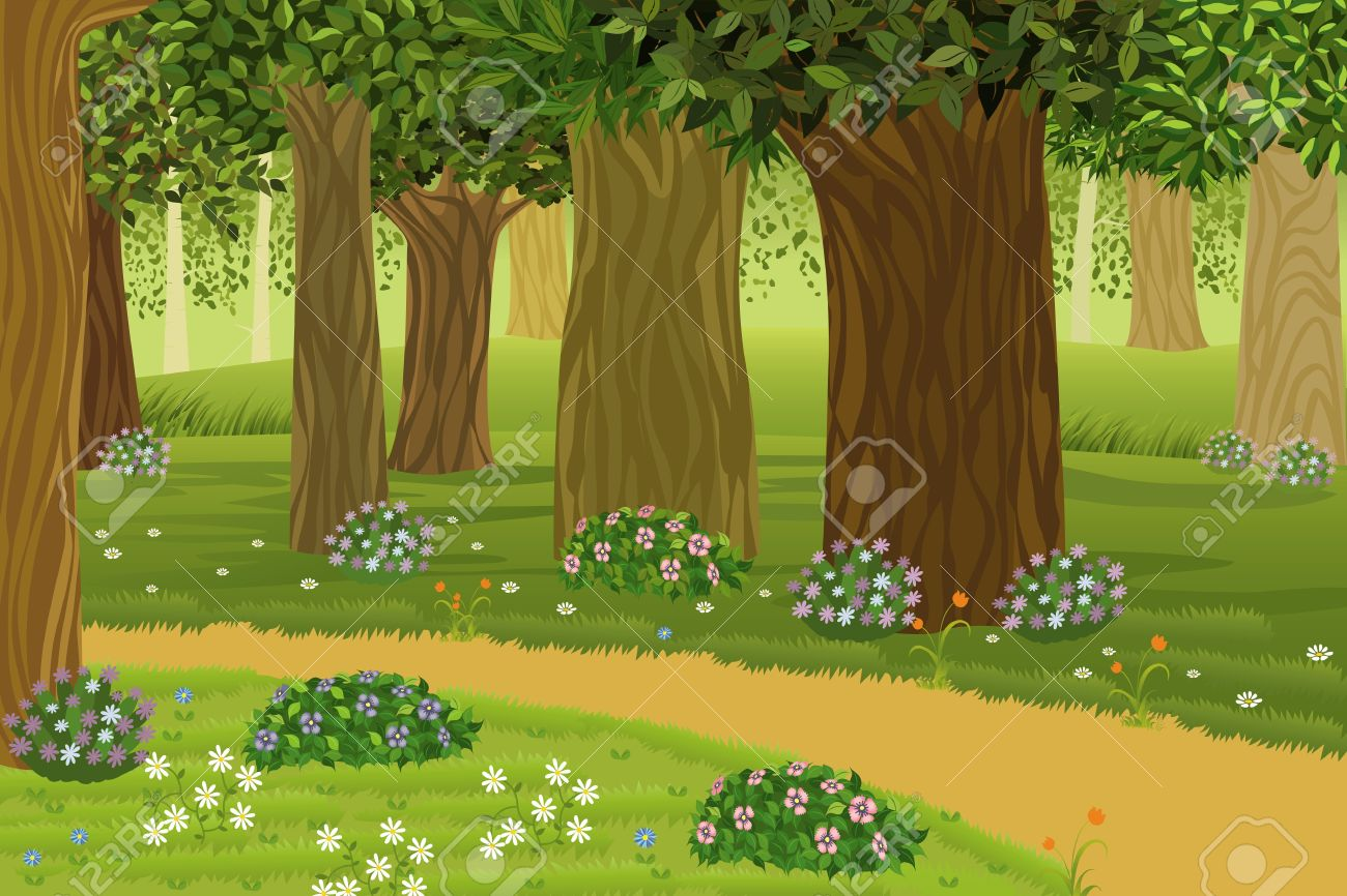 Trees and flowers in an enchanted forest.