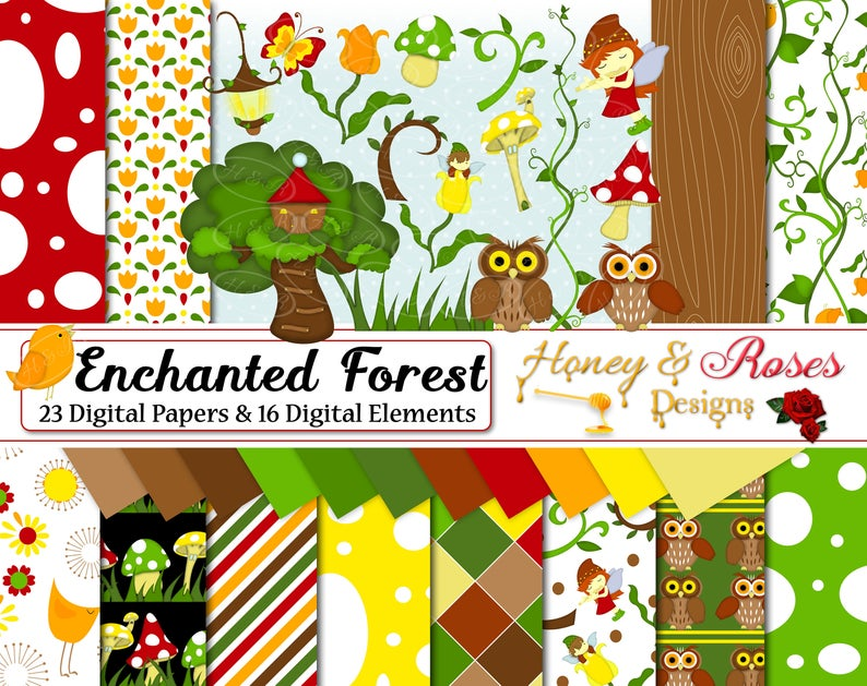 ENCHANTED FOREST Digtal Papers & Clipart, 12