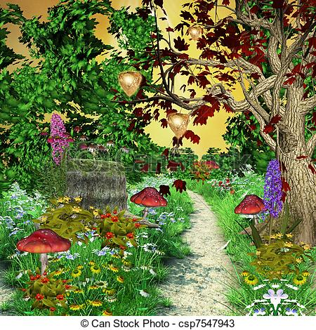 Enchanted garden clipart.