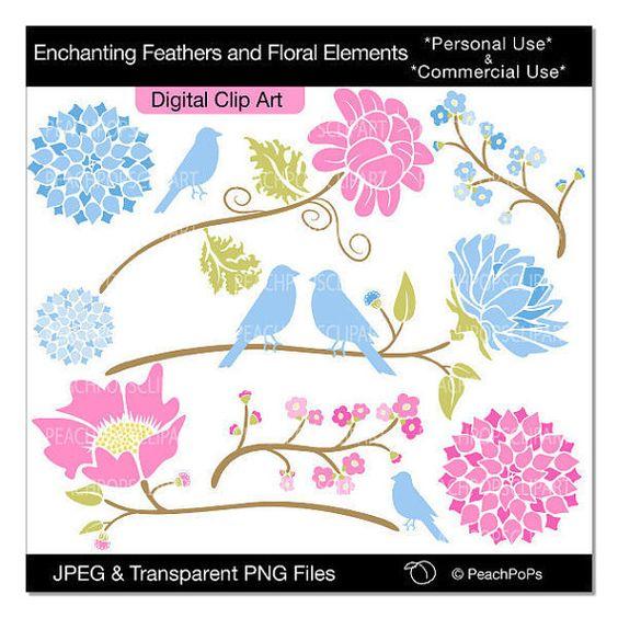 clip art digital clipart flowers birds.