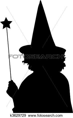 Clip Art of Silhouette sorceress k3629729.