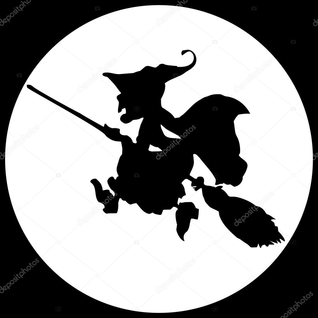 Witch in the moon — Stock Vector © Changered #11228162.