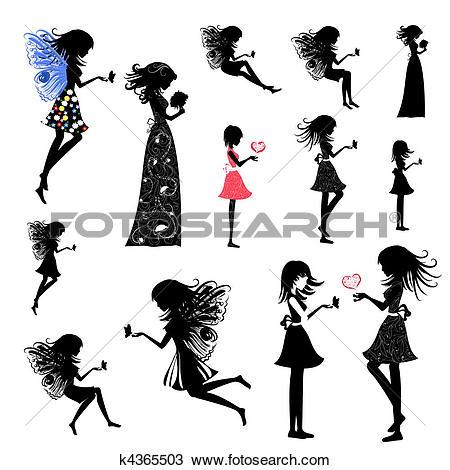Clipart of girl fairy set k4365503.