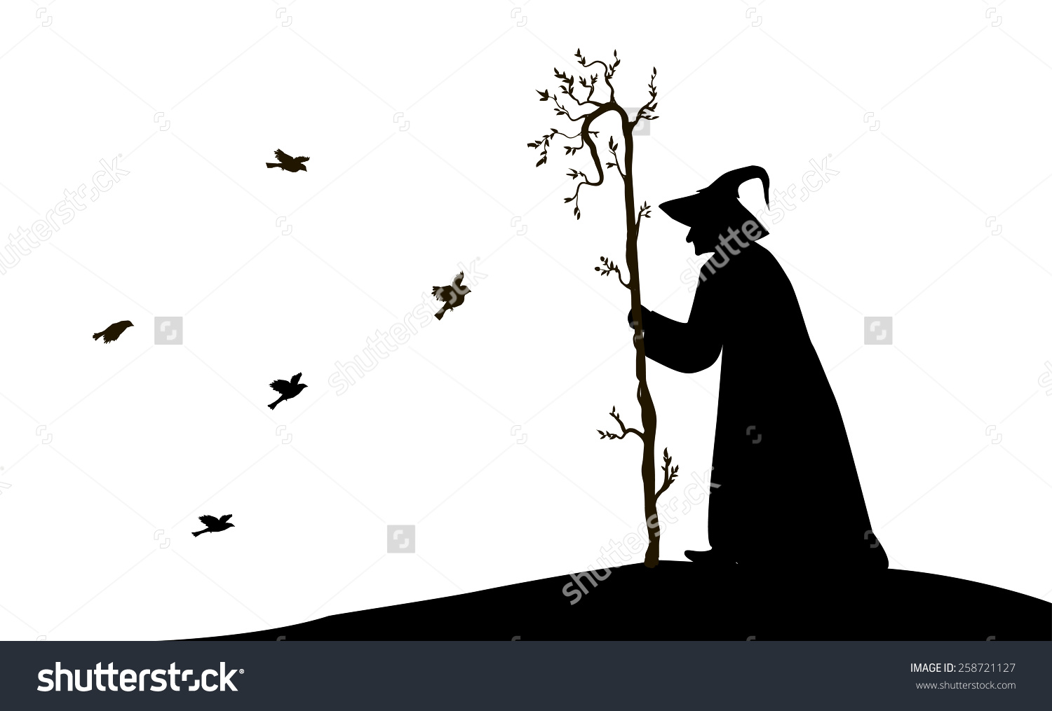 Silhouette Old Enchantress Tree Stick Flying Stock Vector.
