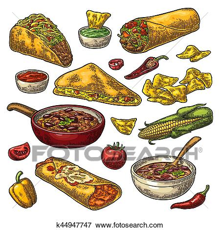 Mexican traditional food set with Guacamole, Enchilada, Burrito, Tacos,  Nachos Clip Art.