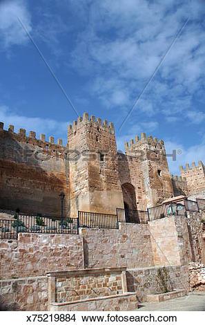 Stock Photo of Banos de la Encina (Jaen) Burgalimar califal castle.