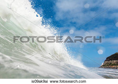 Stock Photo of Close up side view of ocean wave, Encinitas.