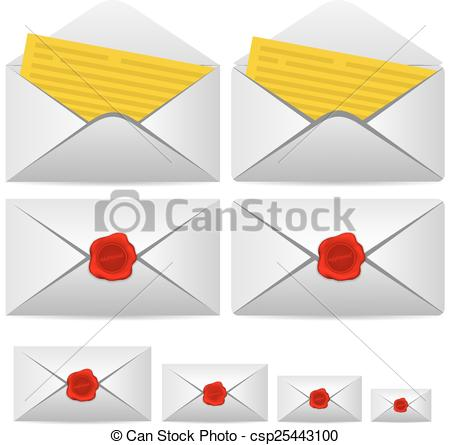 Vector Clipart of Open letter and enclosed with a seal. Vector.