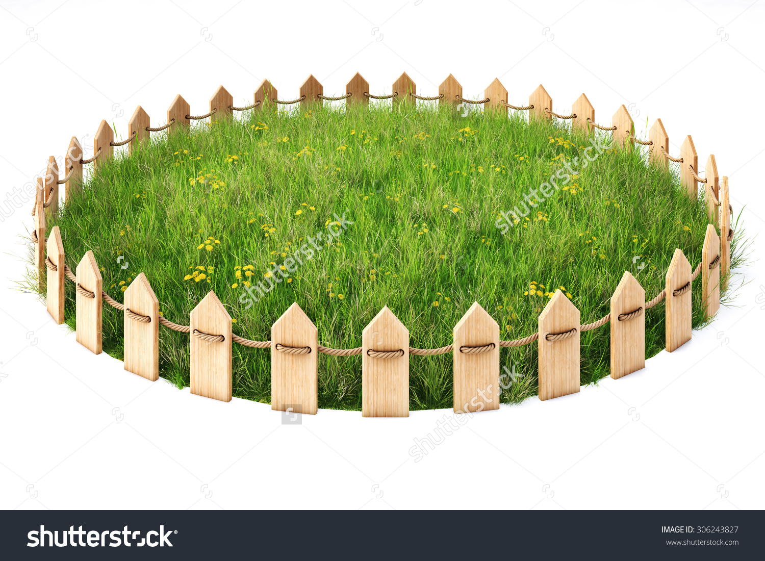 Round Island Grass Lawn Enclosed By Stock Illustration 306243827.