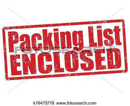 Clip Art of Packing list enclosed stamp k16473778.