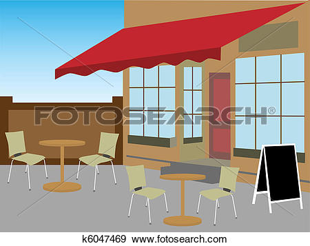 Clip Art of Enclosed cafe courtyard chairs tabl k6047469.