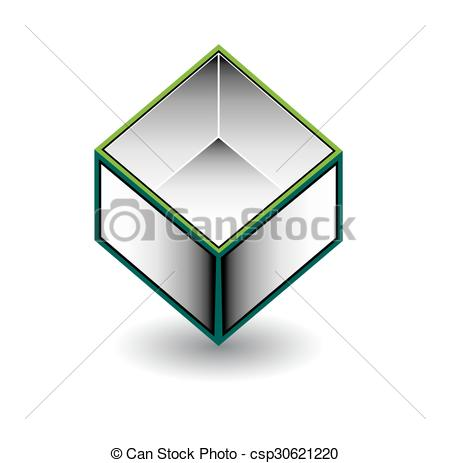 Vector Illustration of Hollow cube.