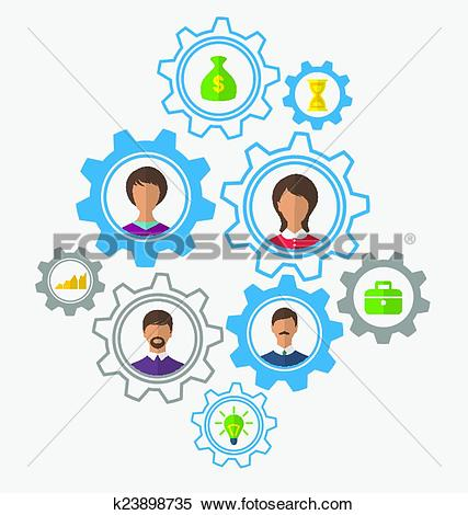 Clipart of Idea of teamwork and success, business people enclosed.