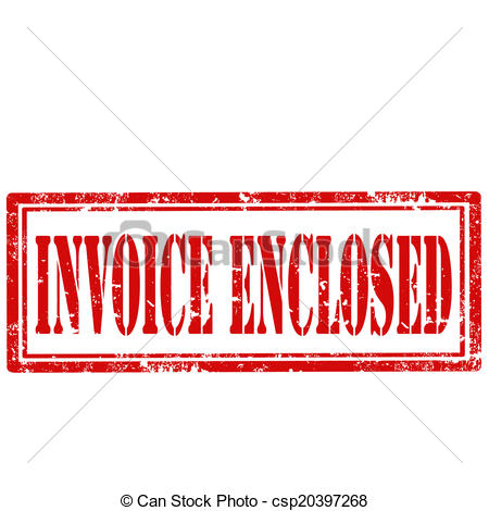 Clip Art Vector of Invoice Enclosed.