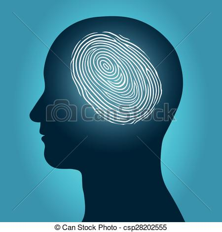 Clipart Vector of Male head with an enclosed fingerprint.