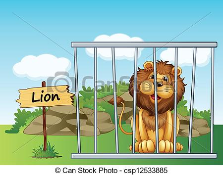 Vector of A lion in a fence.