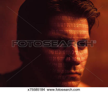 Stock Photo of Man encoded with binary numbers x75585184.