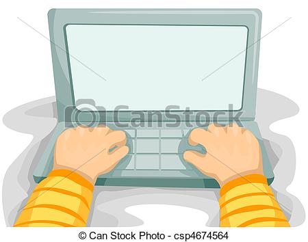 Drawing of Laptop Screen for background with a Person Typing.