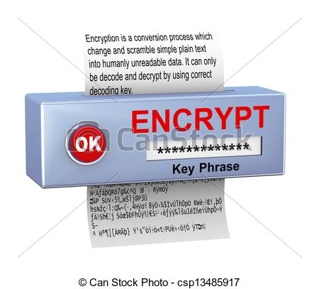 Clipart of 3d concept of data encryption process.