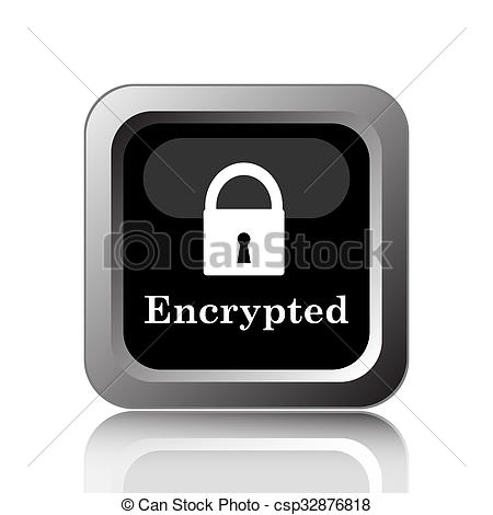 Clipart of Encrypted icon. Internet button on white background.