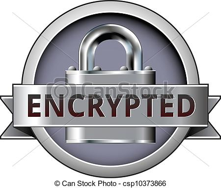 Clip Art Vector of Encrypted secure badge.