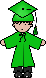 Green cap and gown clipart.