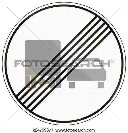 Clipart of End Of No Overtaking By Lorries k24769371.