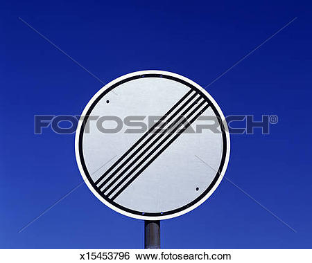 Stock Images of road sign, end of all speed and passing limits.
