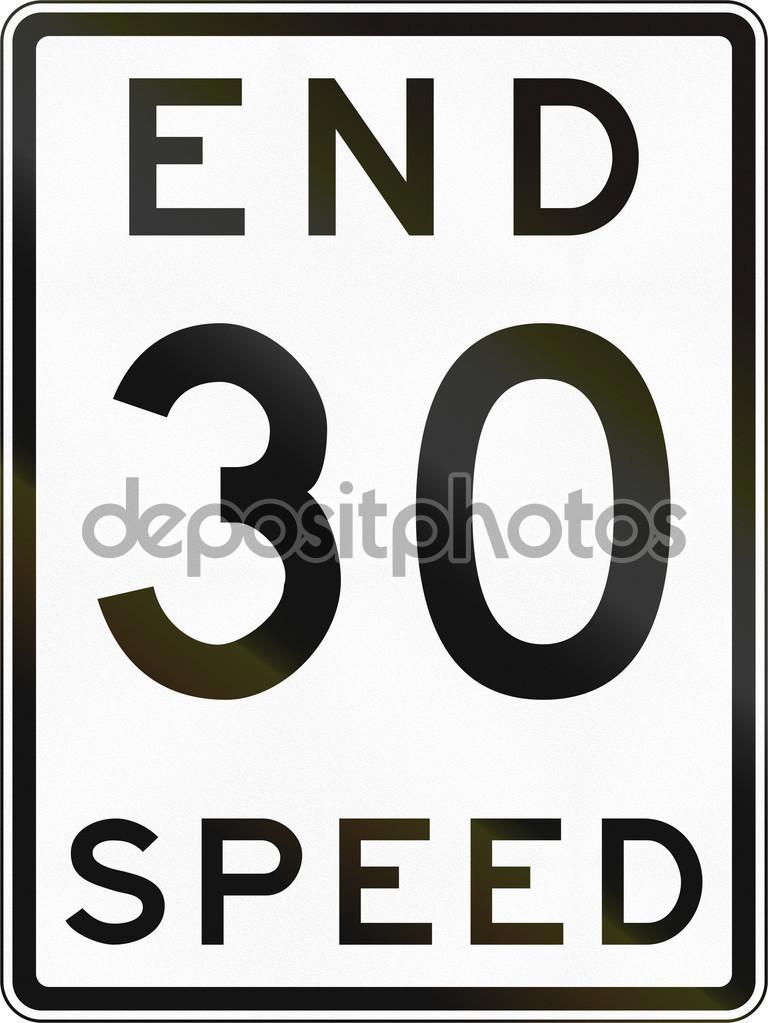 Historic End Speed Limit Sign In Australia — Stock Photo © jojoo64.