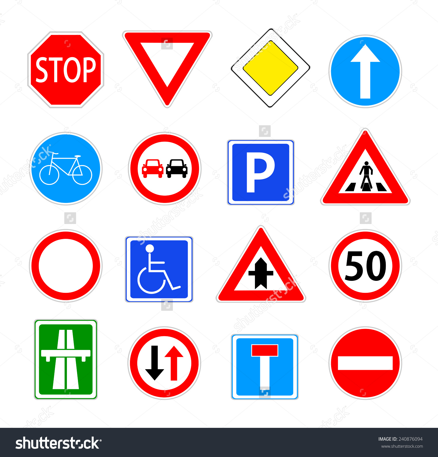 Traffic Sign Collection Red Blue Green Stock Vector 240876094.