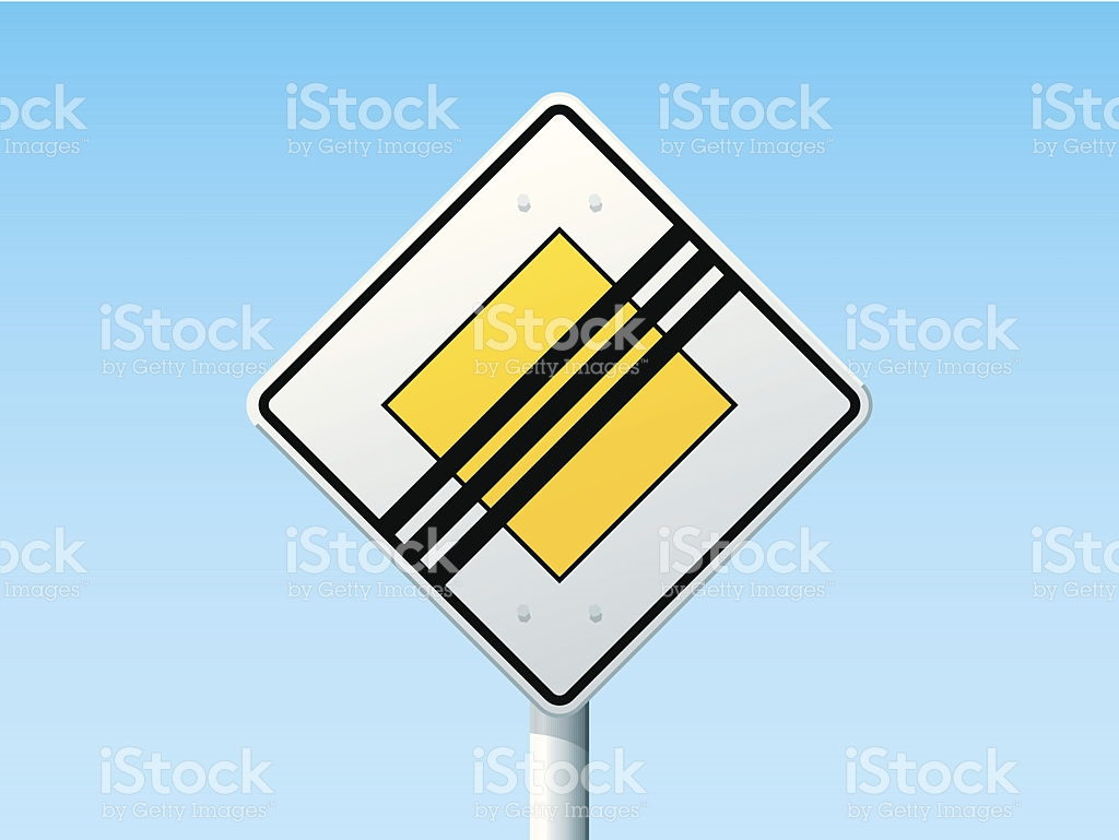 End Of Priority Road Sign stock vector art 475971559.