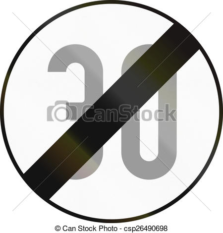 Stock Illustration of End Of Speed Limit 30 in Austria.