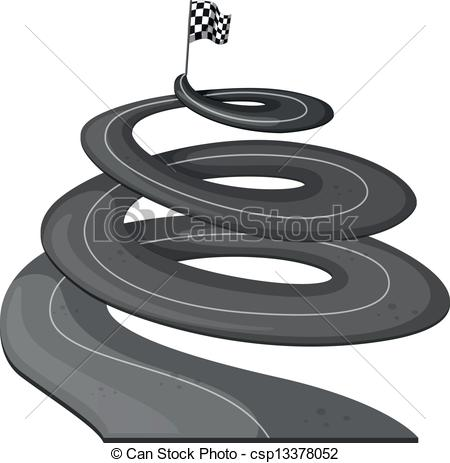 Clipart Vector of A long road with a banner at the end.