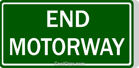 Australian road sign, End Motorway Royalty Free Vector Clip Art.