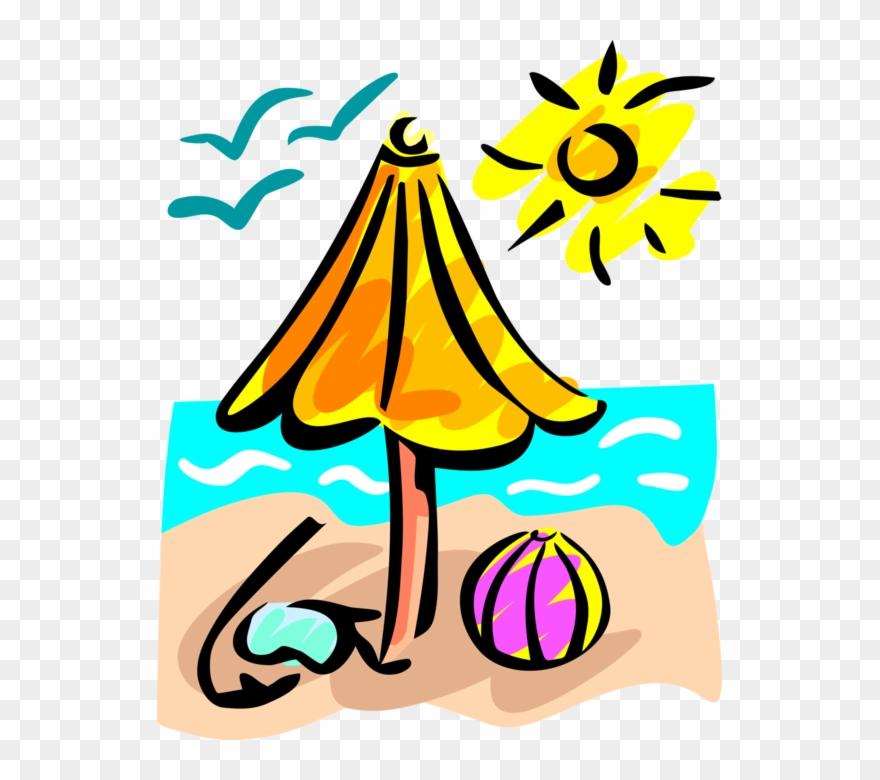 Vector Illustration Of Beach With Umbrella, Beach Ball.