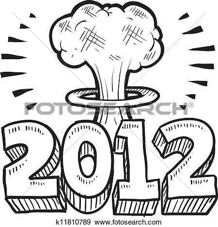 Clip Art of 2012 End of the world sketch k11810789.