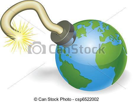Vector Illustration of Time bomb in shape of world globe concept.