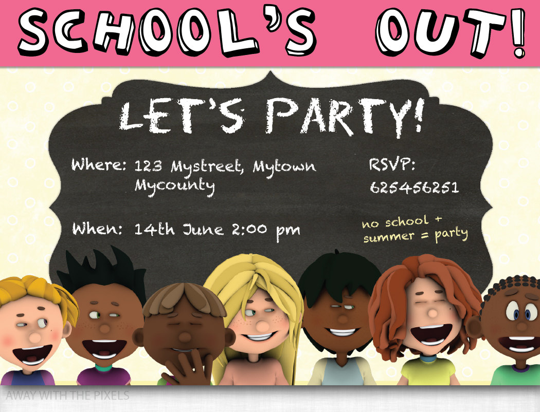 Custom Party Invitation To Print School's Out Let's.