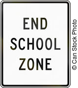 Stock Image of End School Zone sign against trees and sky.