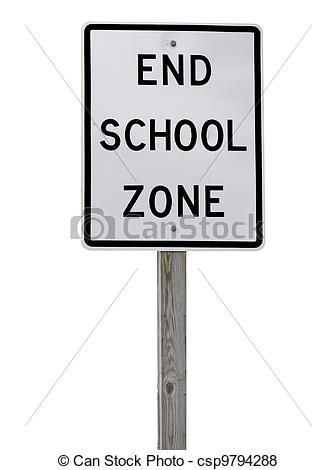 Pictures of An End School Zone sign on a wooden 4x4 post isolated.