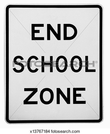 End School Zone Sign Clipart.