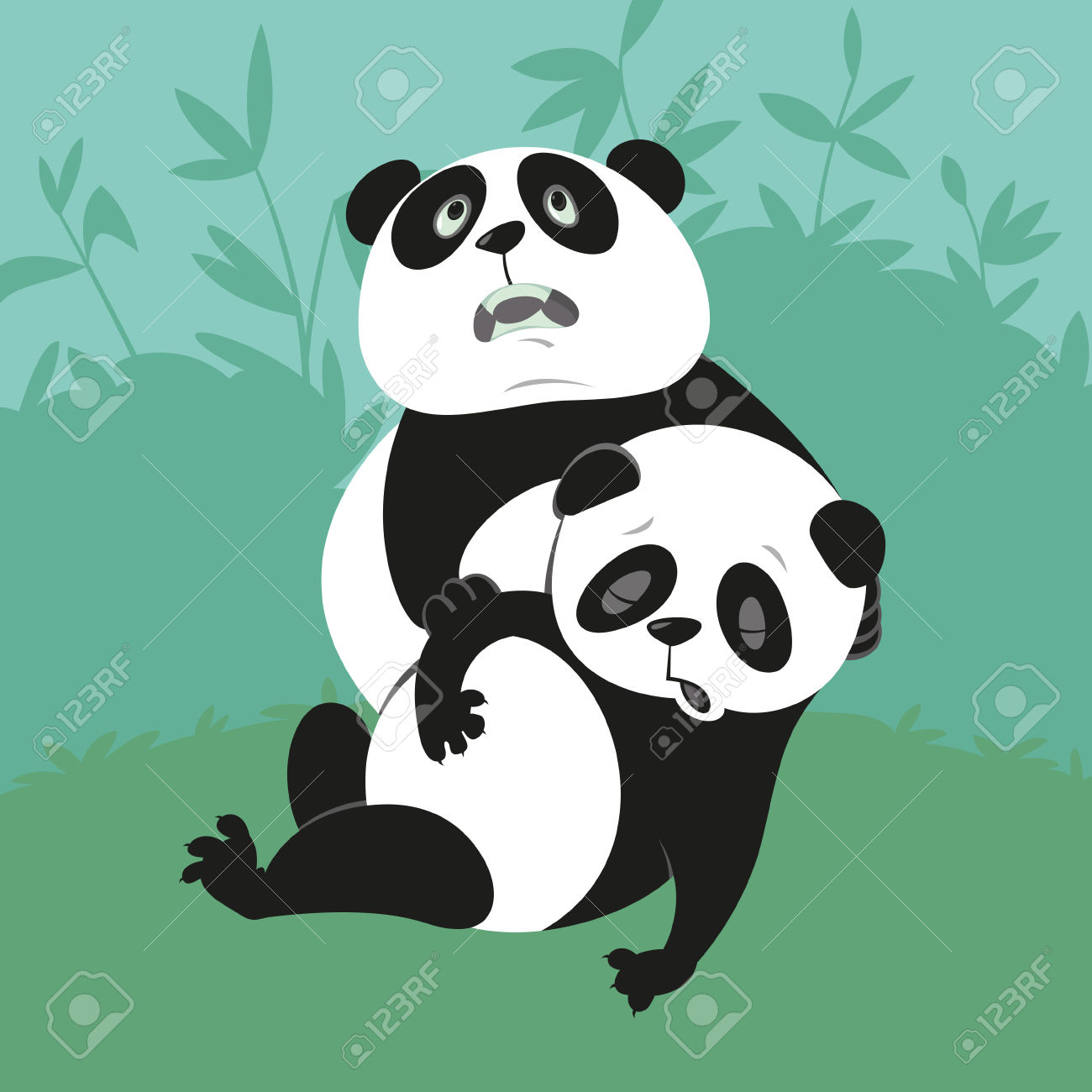 Panda With A Dying Friend, Illustration Of Endangered Animals.