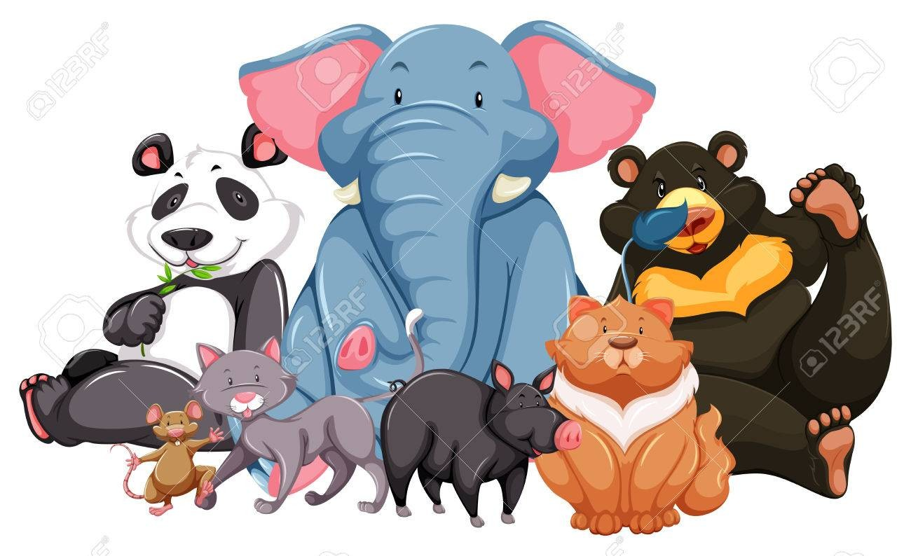 On Endangered Animals Clipart 40710852 Group Of Wild Looking Happy.