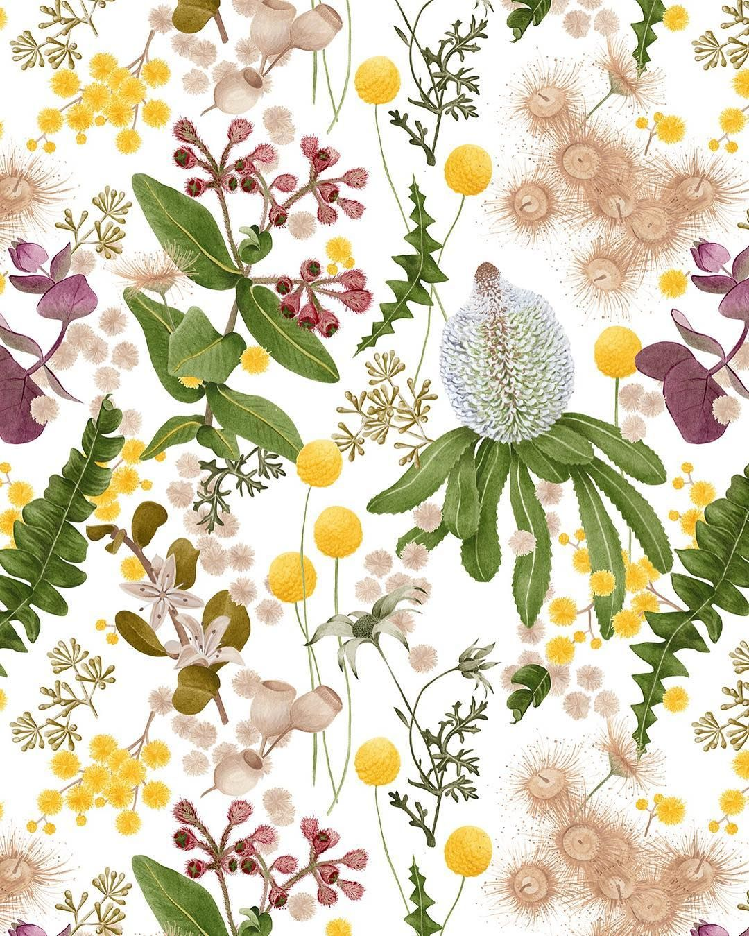 Botanical wallpaper for @haymespaint Colour Library Vol 3.
