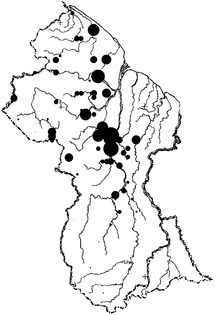 Map of abundance of individuals of endemic species.