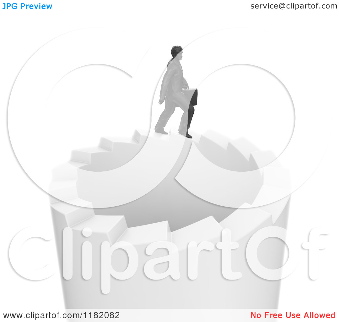 Clipart of a 3d Businessman Walking on a Circle of Endless Stairs.