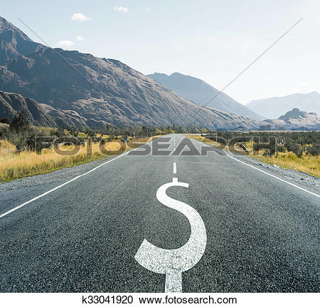 Stock Photography of Dollar symbol on endless road, financial.