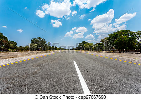 Stock Photographs of Endless road with blue sky.