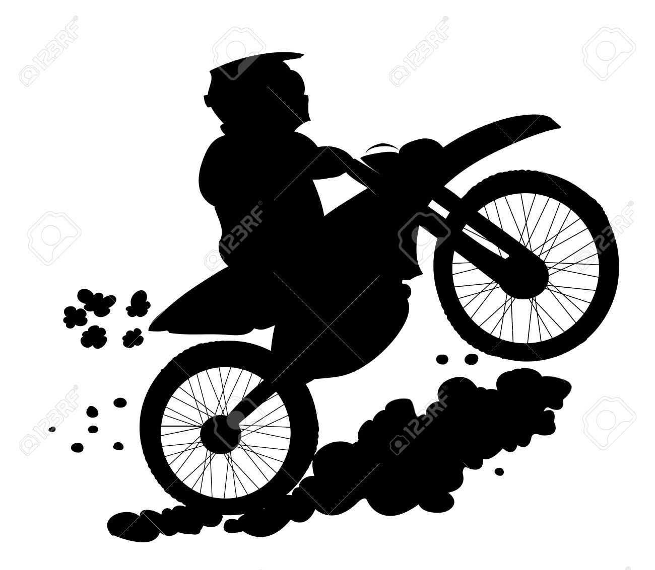 Enduro Biker Silhouette Royalty Free Cliparts, Vectors, And Stock.