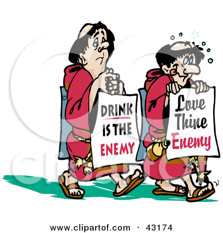 Clipart Illustration of Two Monks Walking With Boards Reading.
